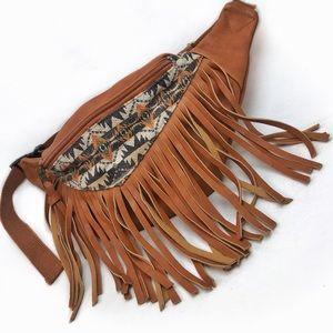 Exotic BoHo Faux Leather Fringe Fanny Pack S-XL